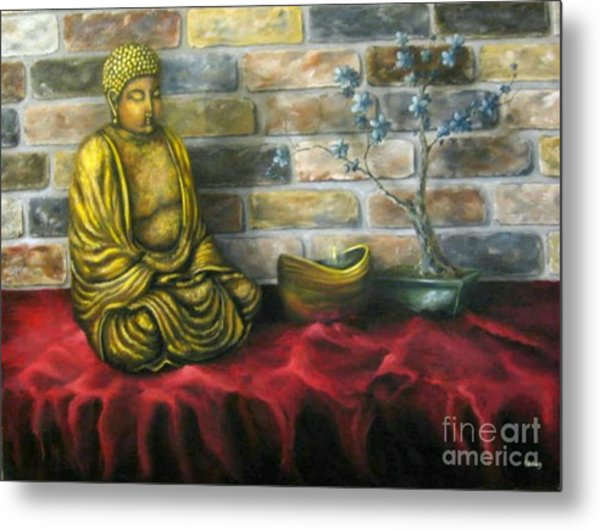 Buddha And Candle Metal Print