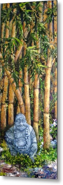 Buddha In The Bamboo Garden Metal Print by Annie St Martin