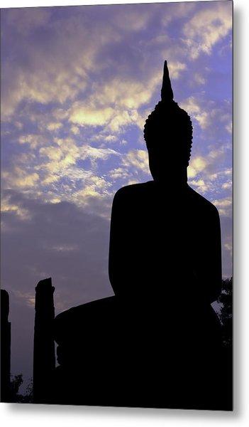 Buddha Silhouette Metal Print by Thomas  von Aesch