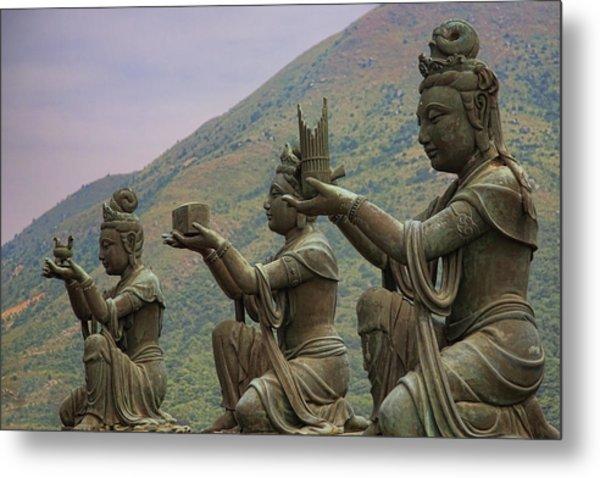 Buddhistic Statues Metal Print by Karen Walzer