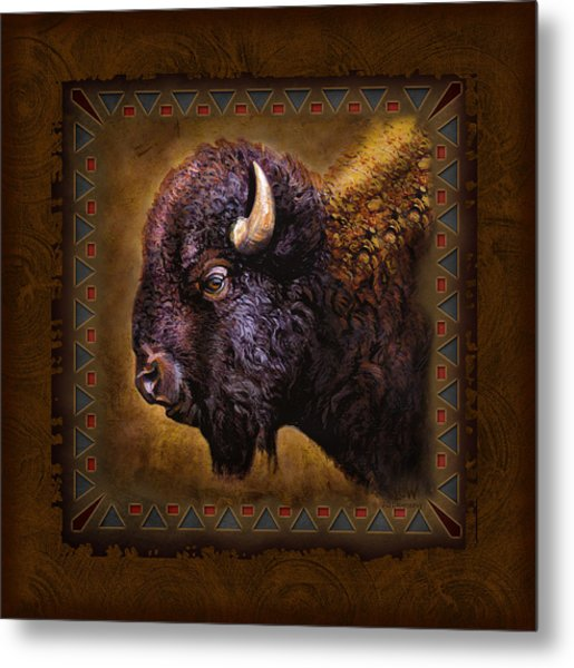 Buffalo Lodge Metal Print