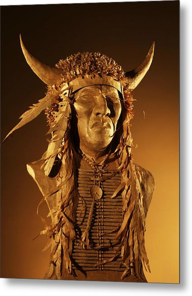 Buffalo Warrior Metal Print by Monte Burzynski