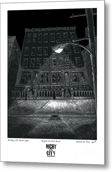 Building With Street Light Metal Print