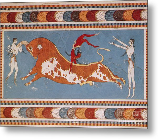 Bull-leaping Fresco From Minoan Culture Metal Print