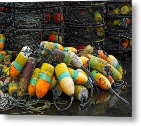 Buoys And Crabpots On The Oregon Coast Metal Print