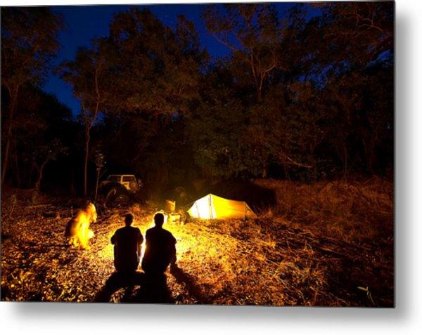 Bush Camp At Midway Waterhole Metal Print by Johnny Haglund