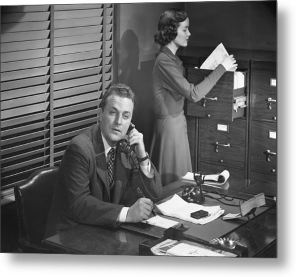 Businessman And Secretary Metal Print by George Marks