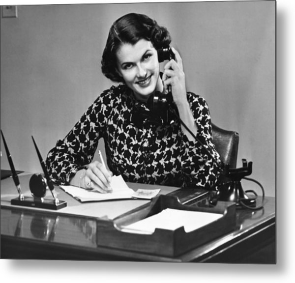 Businesswoman On Telephone Metal Print by George Marks