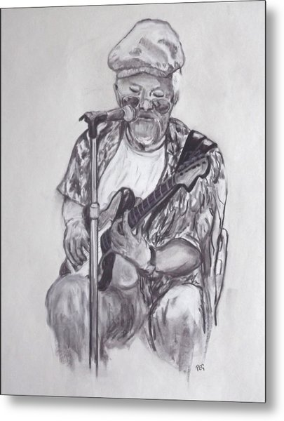 Busking 1 Metal Print by Peter Edward Green