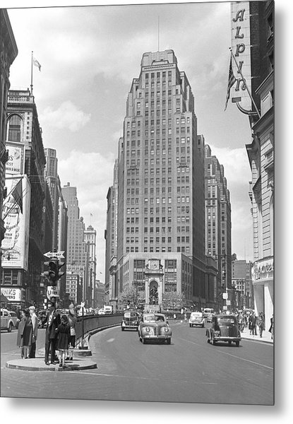 Busy City Street Scene Metal Print by George Marks