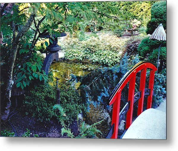 Butchart Gardens Japanese Bridge Metal Print