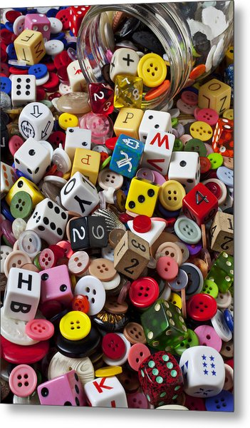 Buttons And Dice Metal Print