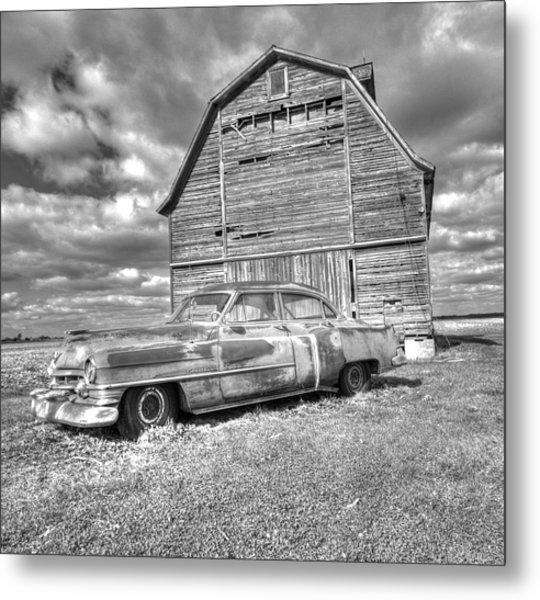 Bw - Rusty Old Cadillac Metal Print