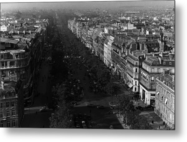 Bw France Paris Champs Elysees Avenue 1970s Metal Print by Issame Saidi