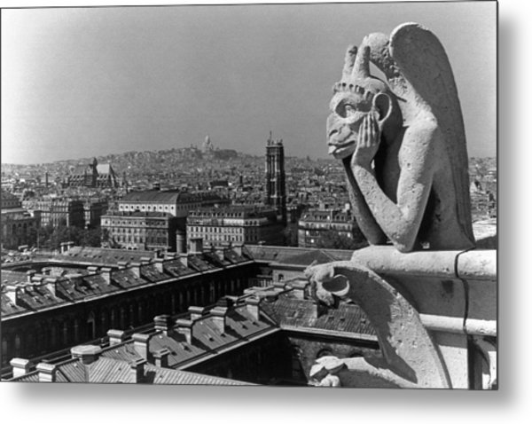 Bw France Paris Notre Dame Cathedral The Thinker 1970s Metal Print by Issame Saidi