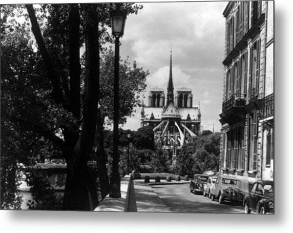 Bw France Paris Notre Dame Saint Louis Island 1970s Metal Print by Issame Saidi