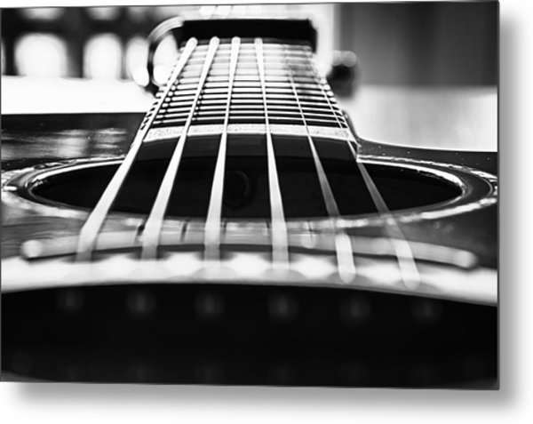 Bw Guitar Metal Print by Javier Luces