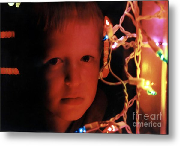 By The Glow Of Christmas Lights Metal Print