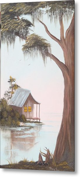 Cabin In The Swamp Metal Print by Mary Matherne