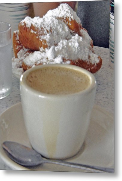 Cafe Au Lait And Beignets Metal Print by Helen Haw