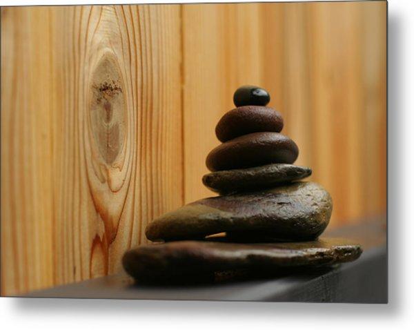 Cairn Meditation Stones Metal Print by Heidi Hermes