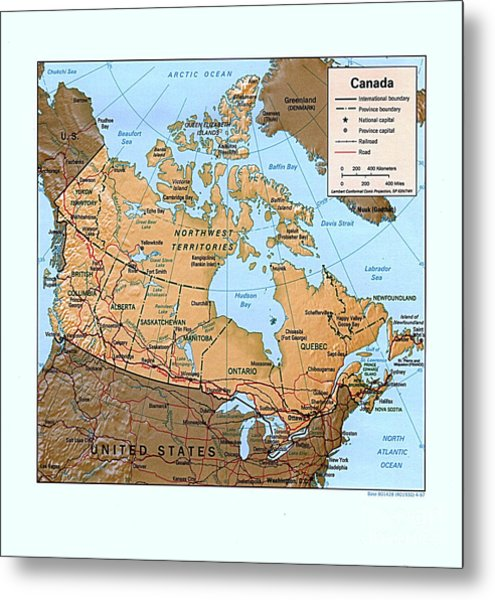 Canada Relief Map Metal Print by Pg Reproductions