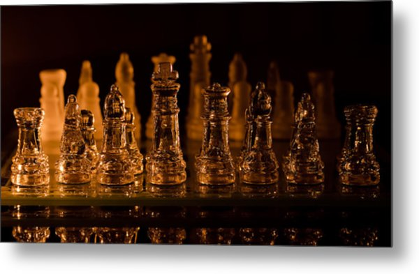 Candle Lit Chess Men Metal Print