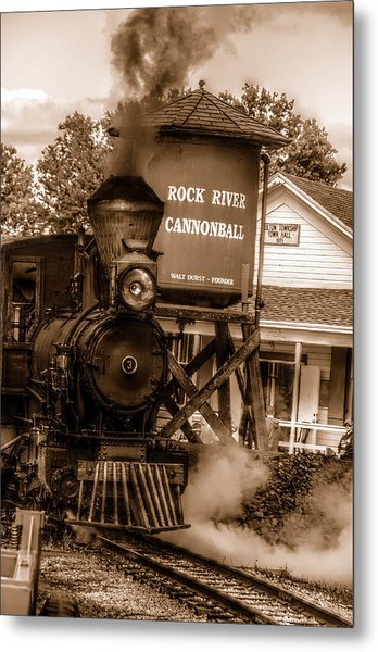 Cannonball Express In Sepia Metal Print