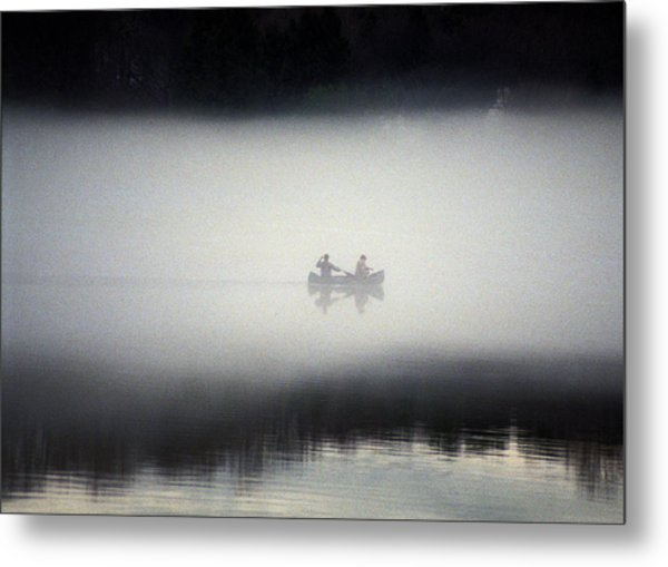 Canoe In Fog Metal Print by Kurt Weiss