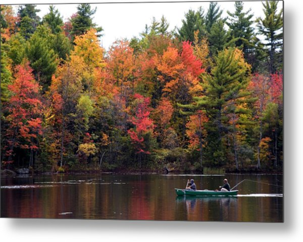 Canoeing In Autumn Metal Print