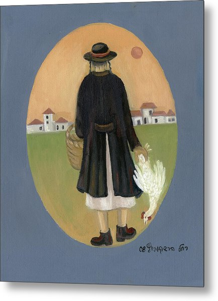 Caparot Rooster Hasid Back View Jewish Religious In Blue Yellow Black Green  Metal Print