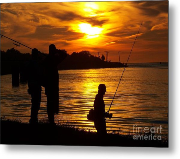 Cape Cod Canal Fishing Metal Print by John Doble