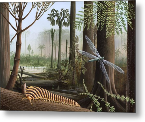 Carboniferous Insects, Artwork Metal Print by Richard Bizley