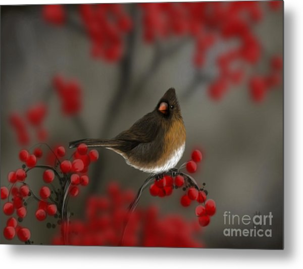 Cardinal Among The Berries Metal Print