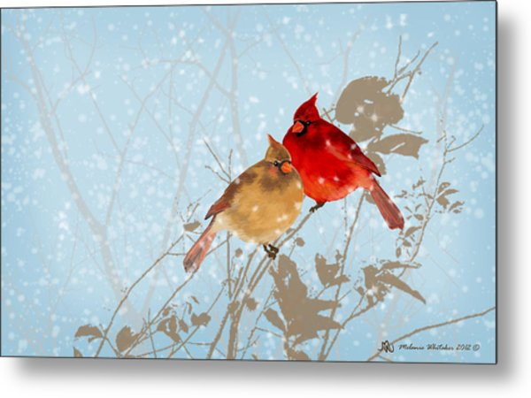 Cardinals In The Snow Metal Print by Melanie Whitaker