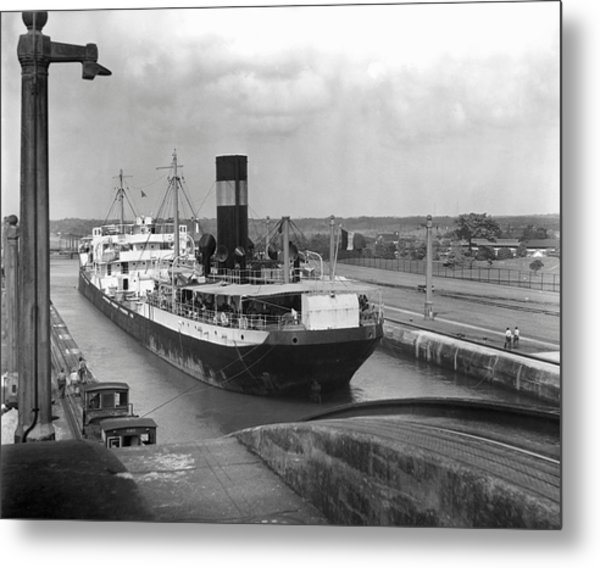 Cargo Ship, Panama Canal Metal Print by George Marks