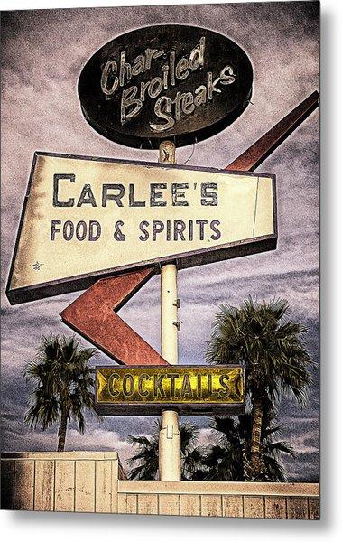 Carlees Food And Spirits Metal Print by Ron Regalado
