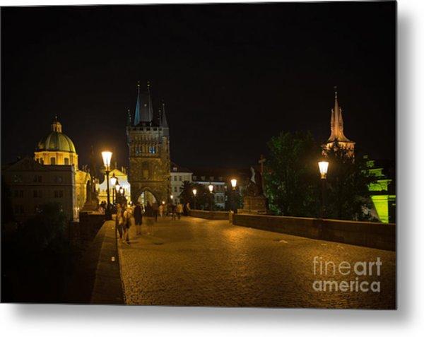 Carls Bridge Prague By Night Metal Print
