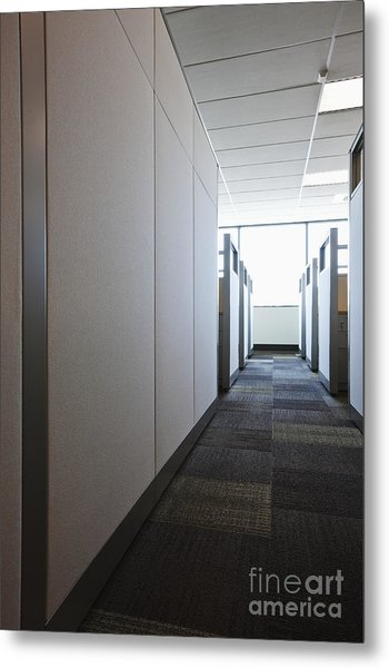 Carpeted Hall With Office Cubicles Metal Print