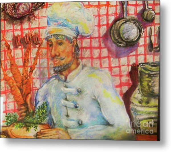 Carrot Soup Chef Metal Print by Emily Michaud