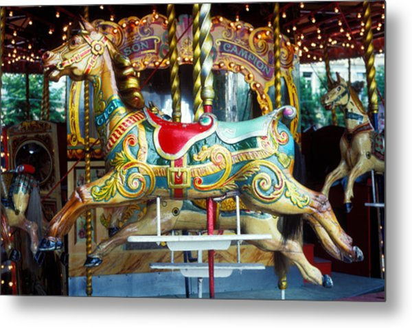 Carrouse Horse Paris France Metal Print