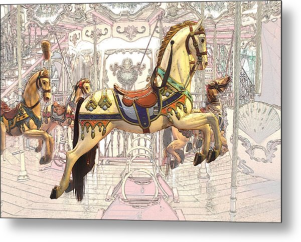 Carrousel With Horses Metal Print