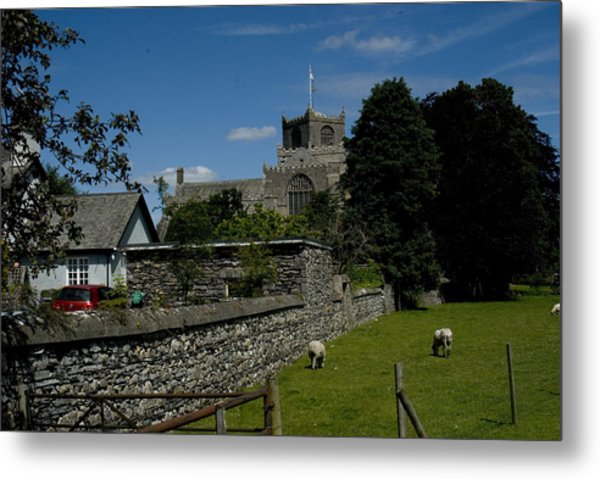 Cartmel Priory From The Causeway Metal Print by Peter Jenkins