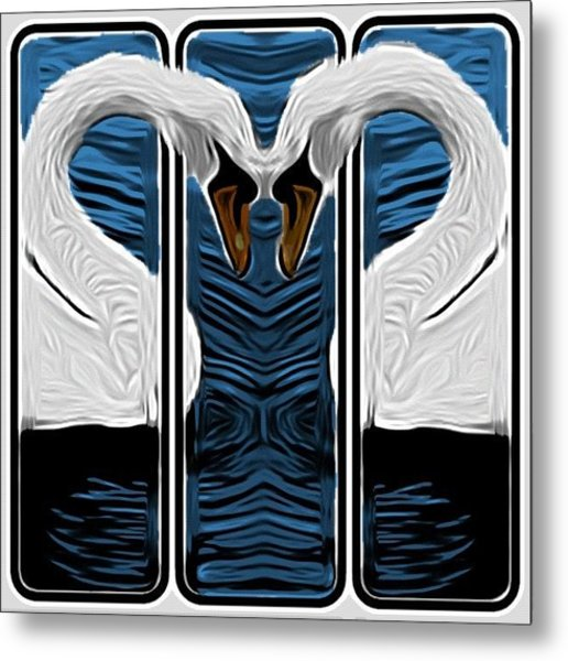 Cartoon Love Swans Metal Print