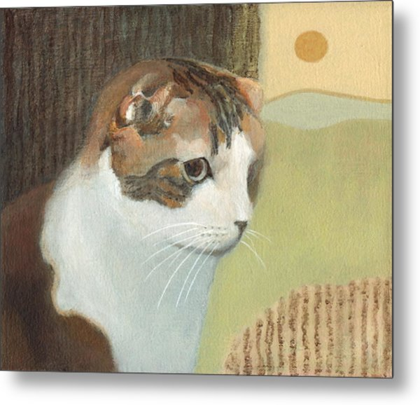 Cat And Sunset Metal Print