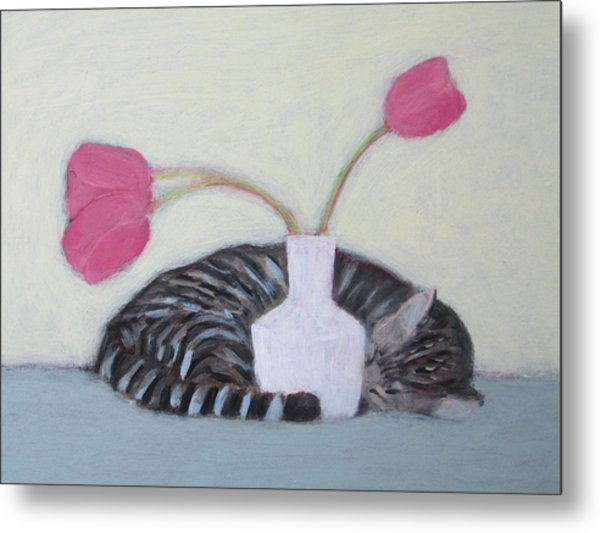 Cat And Tulips Metal Print