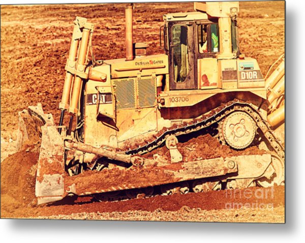 Cat Bulldozer . 7d10945 Metal Print by Wingsdomain Art and Photography
