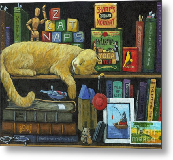 Cat Naps - Old Books Oil Painting Metal Print