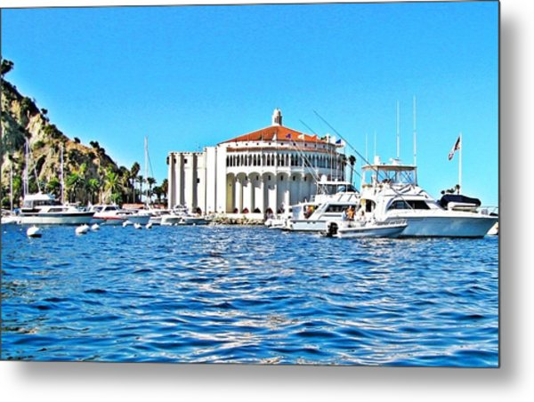 Catalina Casino View From A Boat Metal Print by Lauren Serene