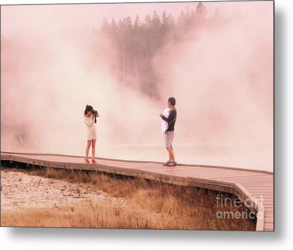 Catching The Steam In Yellowstone Metal Print